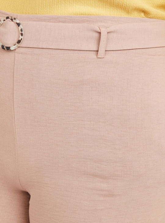 Solid Pants with Pockets and Belt