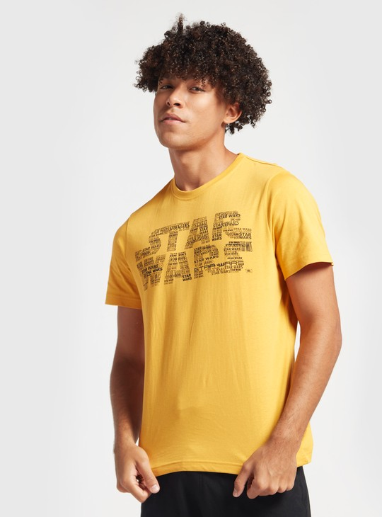 Star Wars Print Round Neck T-shirt with Short Sleeves