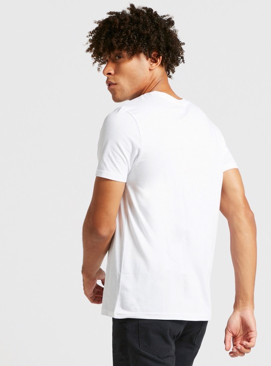 Batman Logo Print Round Neck T-shirt with Short Sleeves