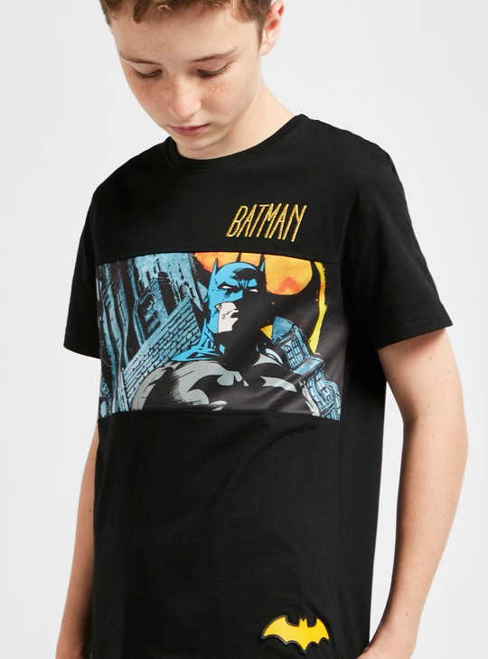 Batman Scene Panel Print T-shirt with Short Sleeves