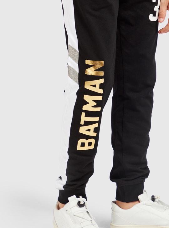 بنطلون رياضي بخصر مطاطي ورباط وجيوب وطبعات باتمان