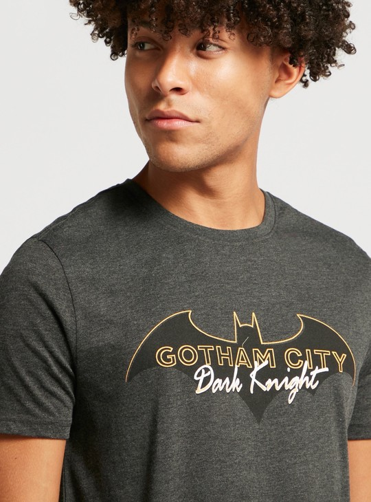 Batman Graphic Print T-shirt with Round Neck and Short Sleeves