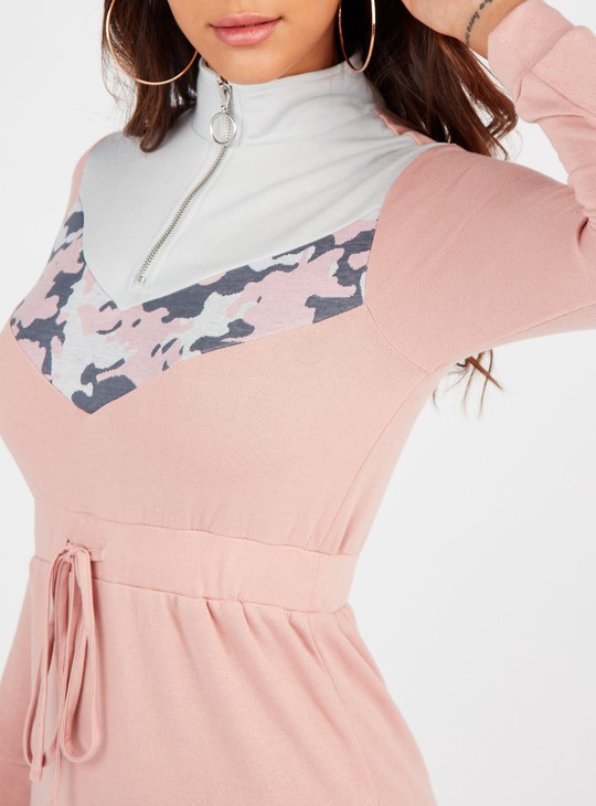 Colour Block High Neck Mini Shift Dress with Long Sleeves