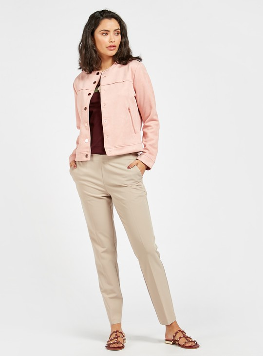 Solid Jacket with Long Sleeves and Zipped Pockets