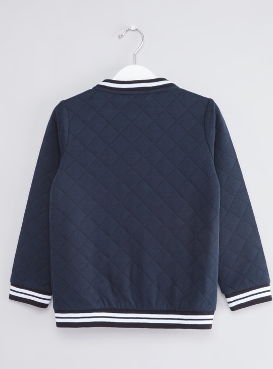 Quilted Bomber Jacket with Long Sleeves and Zip Closure