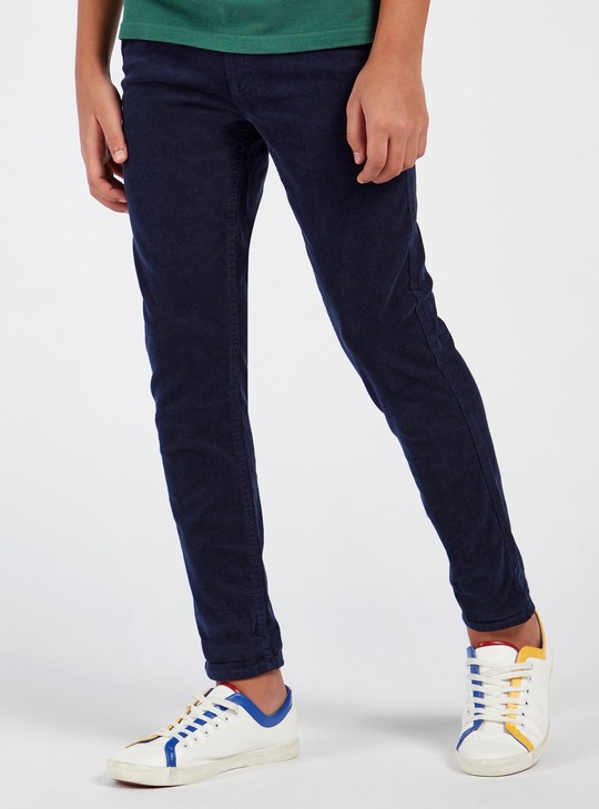 Full Length Textured Pants with Pockets and Drawstring Closure