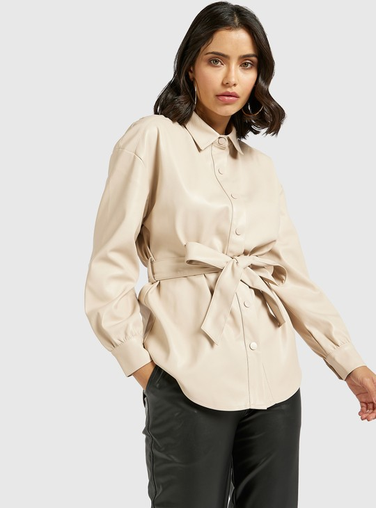 Solid Shacket with Long Sleeves and Tie-Ups