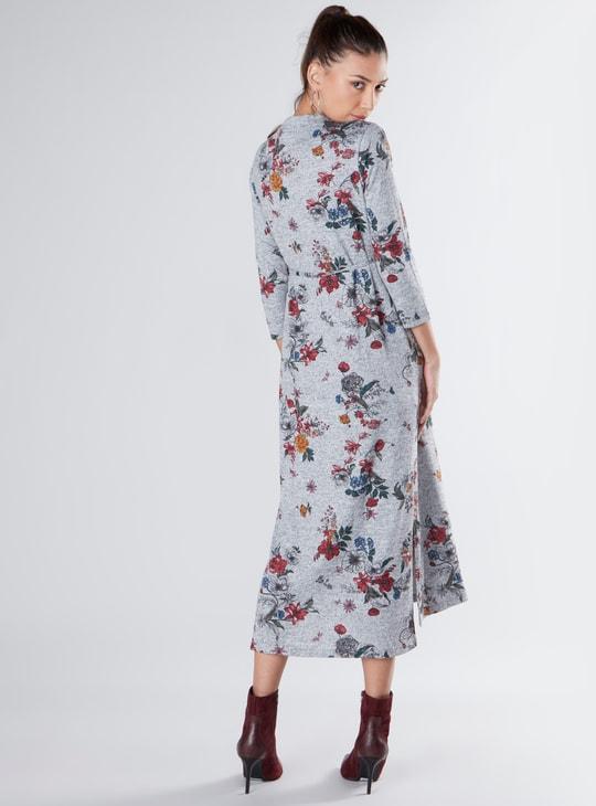 فستان إيه لاين طويل بأكمام 3/4 وأربطة وطبعات أزهار