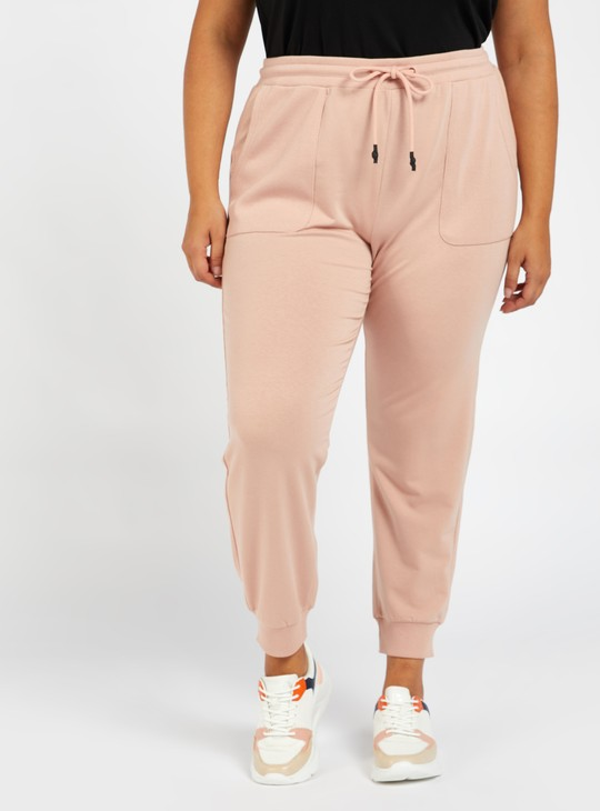 Solid Mid-Rise Full Length Joggers with Ribbed Slip-On Pockets