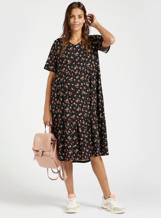 فستان للحوامل إيه لاين ميدي بأكمام قصيرة وطبعات أزهار