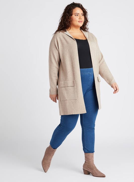 Solid Hooded Knitted Cardigan with Long Sleeves