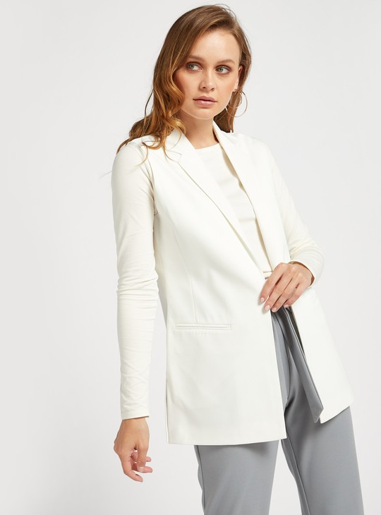 Solid Sleeveless Jacket with Notch Lapel and Pockets