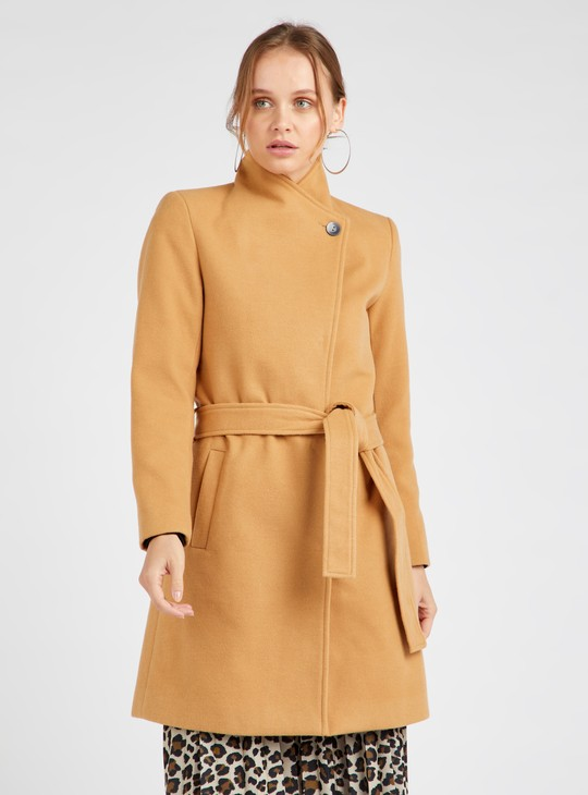 Solid Melton Overcoat with Long Sleeves and Tie Up