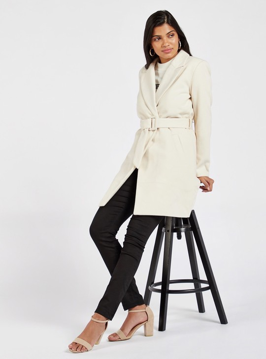 Solid Long Sleeves Melton Overcoat with Pocket Detail and Belt