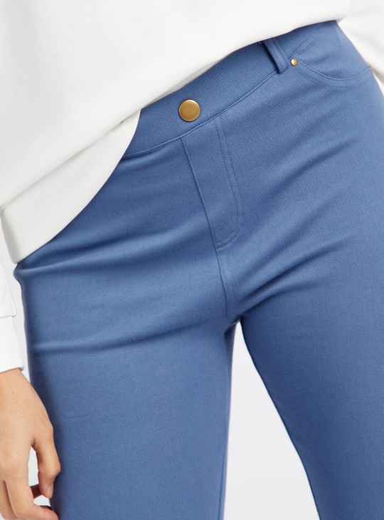 Solid Full Length Leggings with Elasticised Waistband
