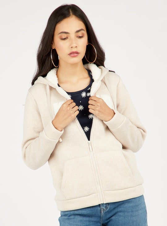 Textured Hoodie with Long Sleeves and Pockets