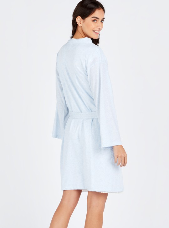 Printed Round Neck Maternity Sleepshirt and Robe Set