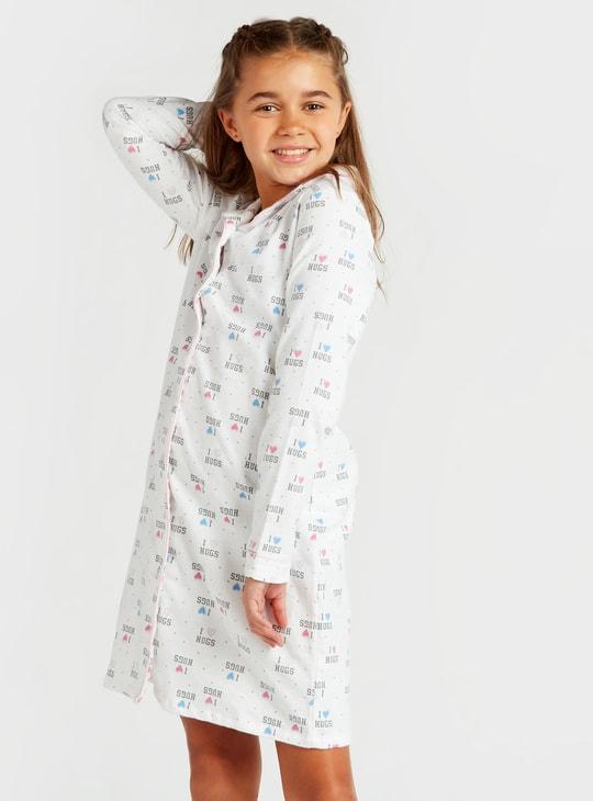 قميص نوم بياقة عادية وأكمام طويلة وطبعات - تشكيلة كوزي