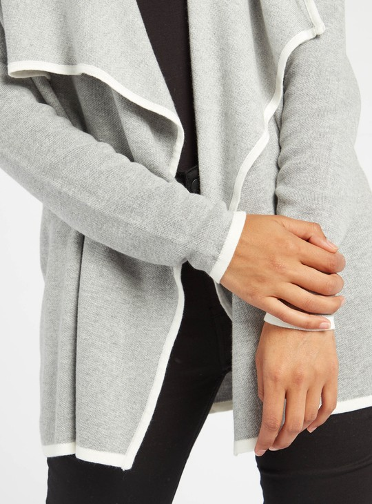 Textured Waterfall Cardigan with Long Sleeves