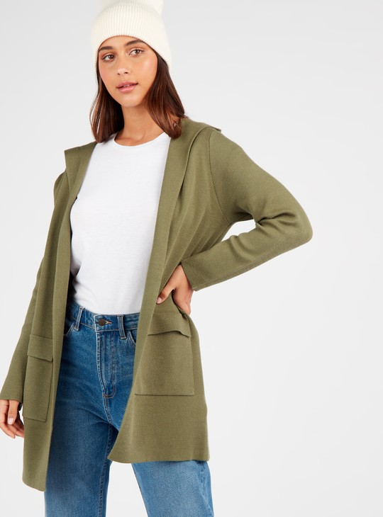 Textured Hooded Coatigan with Long Sleeves and Patch Pockets