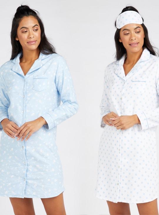 طقم قمصان نوم 3 قطع بأكمام طويلة وجيب وطبعات من كوزي - مجموعة هدايا