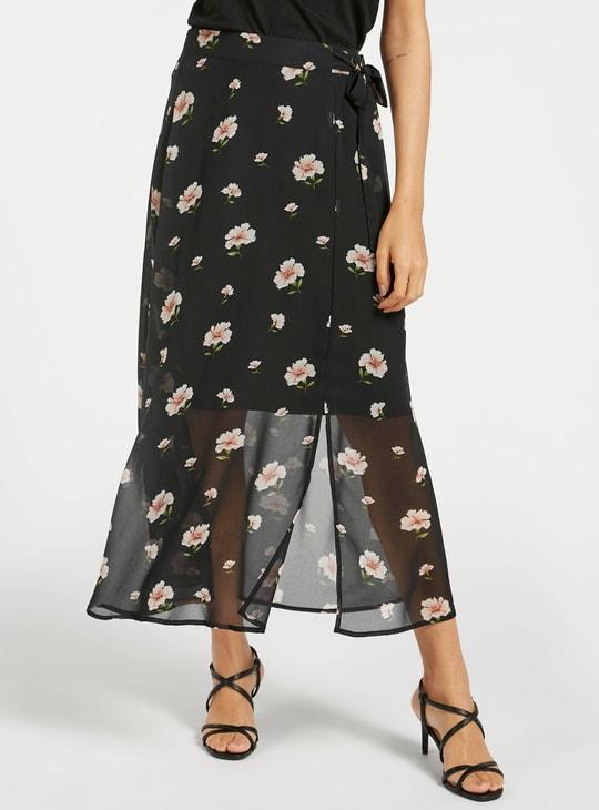 تنورة ملفوفة إيه لاين بطبعات أزهار وأربطة