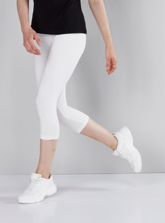 Solid 3/4 Leggings with Elasticised Waistband