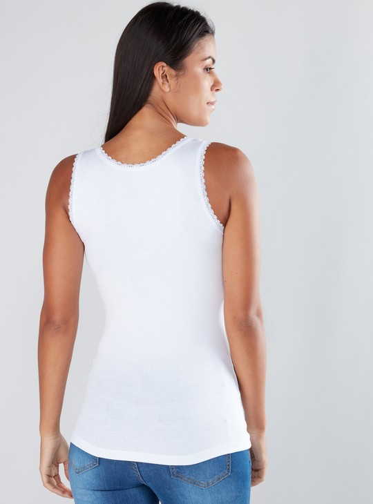 Lace Detail Sleeveless Top with Scoop Neck