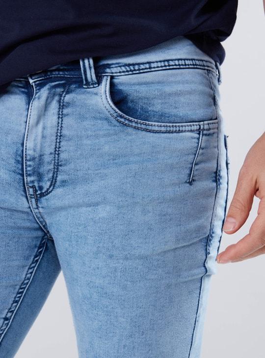 Denim Jog Pants with Pocket Detail