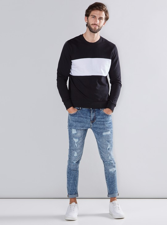 Panel Detail Sweater with Round Neck and Long Sleeves