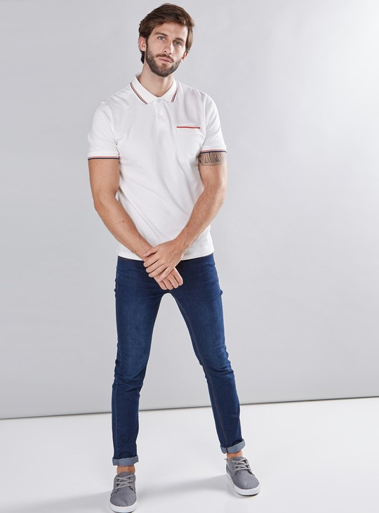 Tipping Detail Polo Neck T-Shirt with Short Sleeves