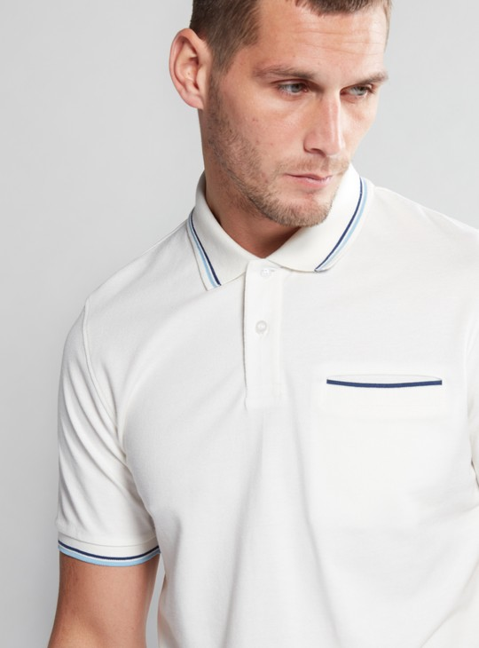 Polo Neck T-Shirt with Tipping Detail and Short Sleeves