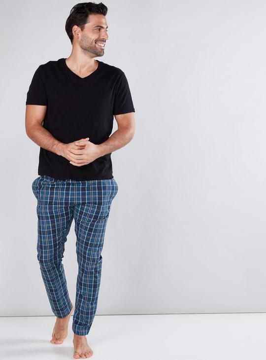 Chequered Full Length Pyjamas with Elasticised Waistband