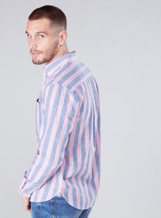 Striped Shirt with Complete Placket and Chest Pocket