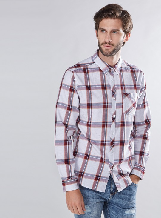 Chequered Pocket Detail Shirt with Long Sleeves and Complete Placket