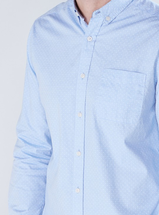 Printed Shirt with Complete Placket and Elbow Patch