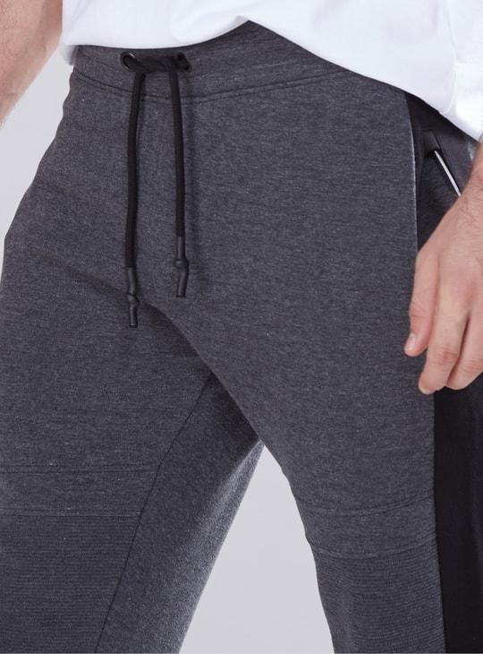 Panelled Full Length Jog Pants with Elasticised Waistband