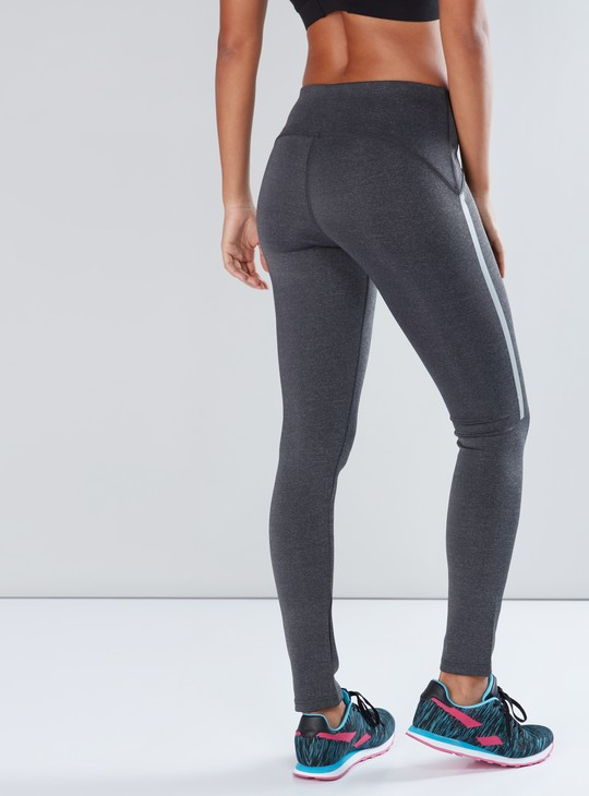 Full Length Leggings with Elasticised Waistband and Tape Detail