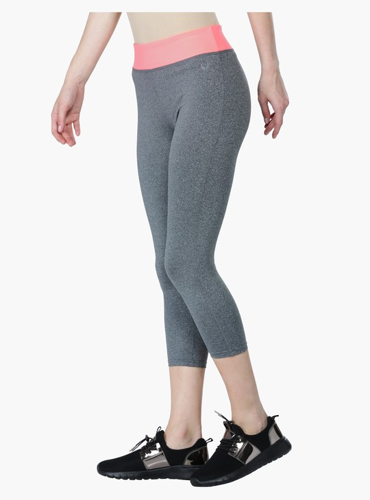 Elasticised Capri Pants with Contrasting Waistband