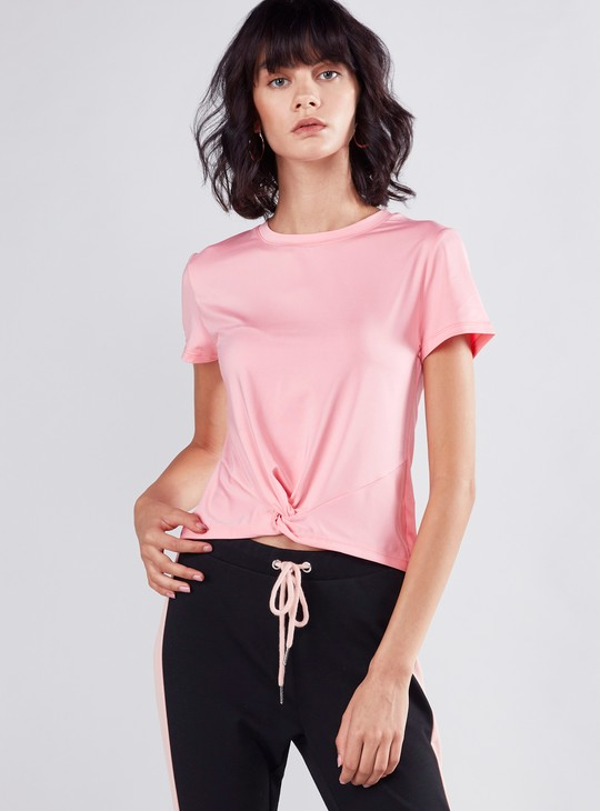 Slim Fit T-shirt with Round Neck and Short Sleeves