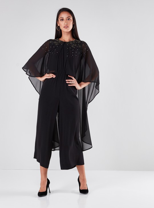 Pearl Embellished Jumpsuit with Round Neck and 3/4 Sleeves