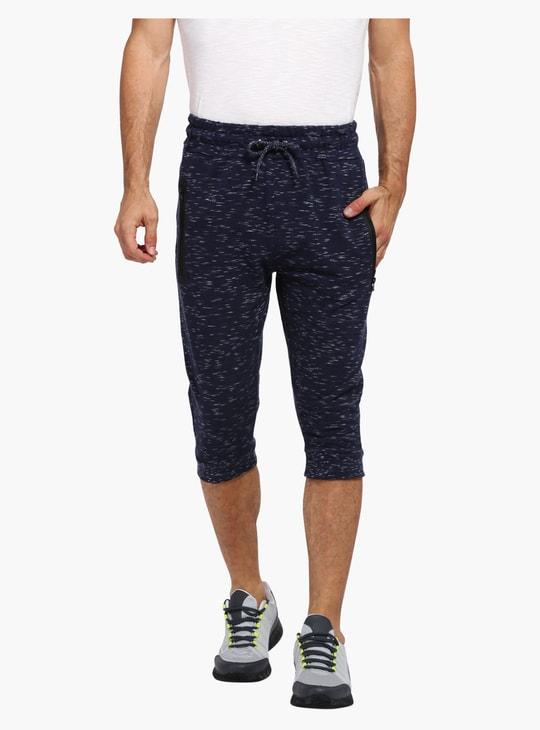 Melange Print 3/4 Length Jog Pants with Elasticised Waistband