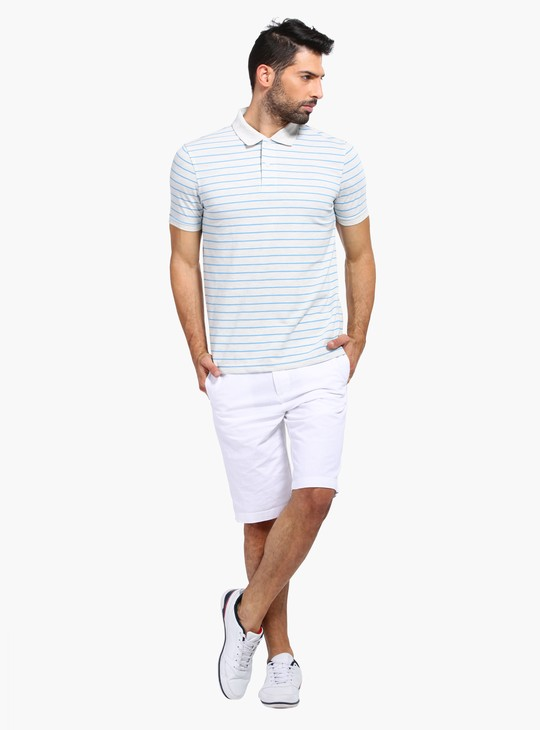 Striped Polo Neck T-Shirt