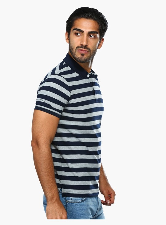 Striped Polo T-Shirt with Short Sleeves