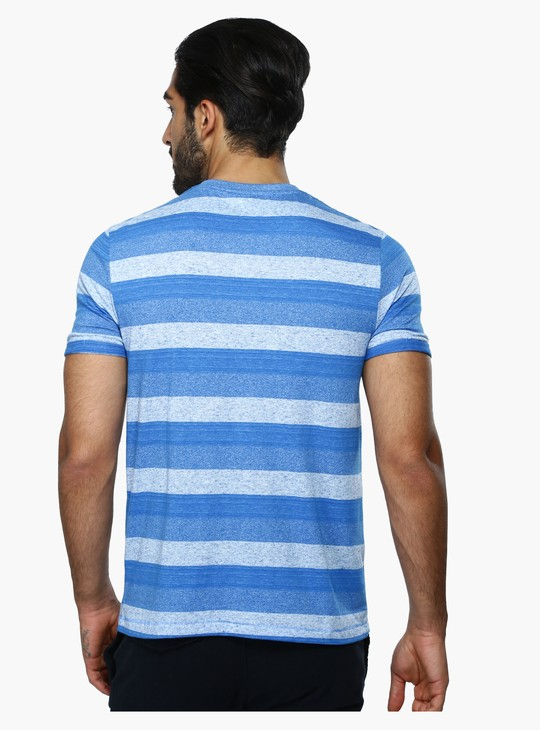 Striped V-Neck T-Shirt with Patch Pocket