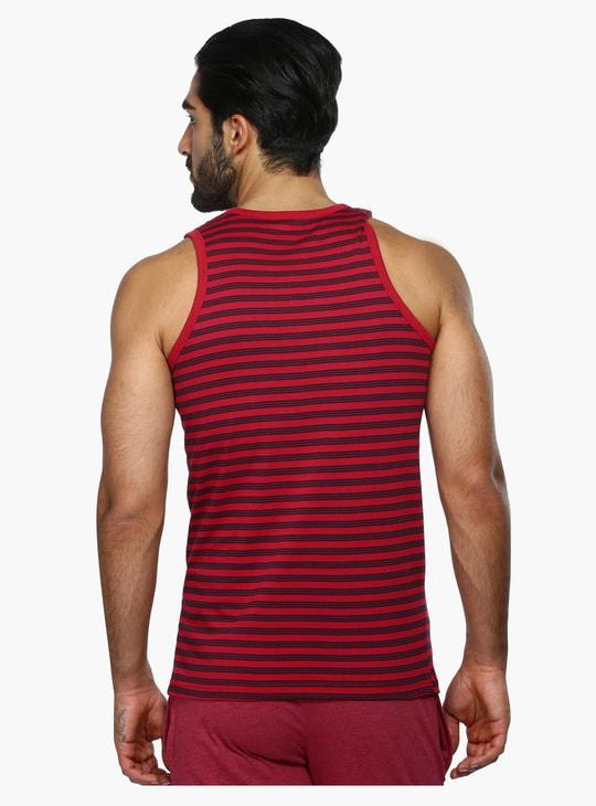 Striped Sleeveless Round Neck T-Shirt