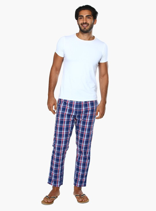 Chequered Lounge Pants with Elasticised Waistband and Drawstring