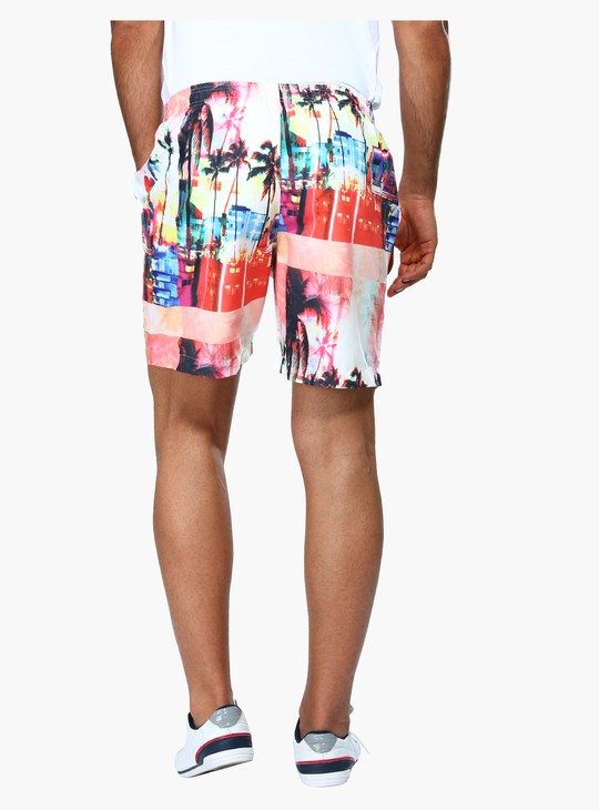 Printed Knee Length Shorts with Elasticised Waistband