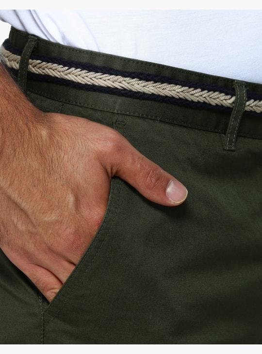 شورت بارز الملمس مع حزام