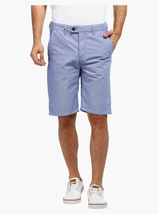 Textured Shorts with Buttoned Closure